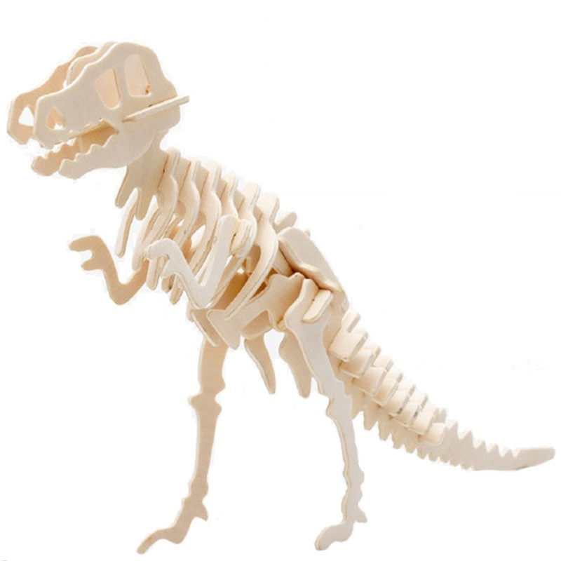3D Simulation Dinosaur Puzzle Toys DIY Funny Skeleton Model Wooden Educational Intelligent Interactive Toy For Children Gifts