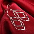 Новая мода Серебряный лист дерева Серьги для Для женщин 2018 высокое качество ювелирных изделий из серебра 925 двойной подорожник Серьги Продажа оптом - фото