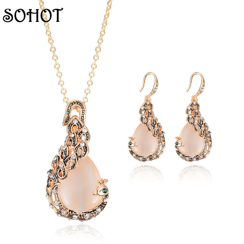 SOHOT Women Fashion Jewellery & Jewerly Peacock Gold Color Opal Stone Crystal Pendant Ne ...