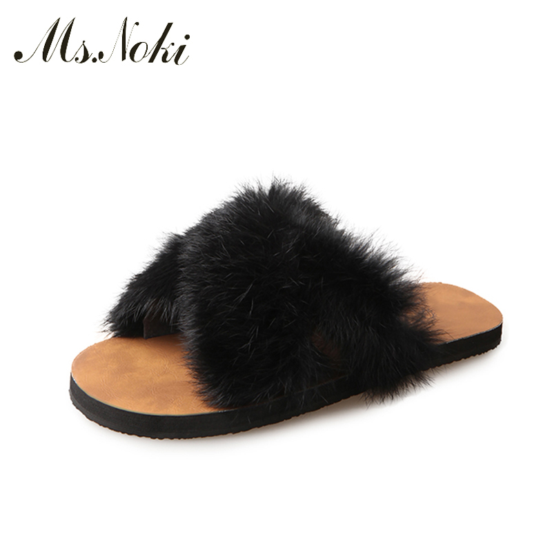 Ms.Noki Fur Fashion mule femme lady flat flip flops thong sandle slide home fur slipper Winter shoes shoe for women