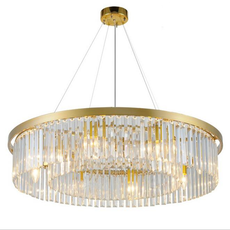 Gold crystal chandelier living room round European creative personality room hall of the post modern simple atmospheric restaura