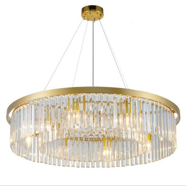 Gold crystal chandelier living room round European creative personality room hall of the post-modern simple atmospheric restaura