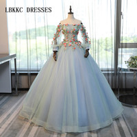 Blue Quinceanera Dresses Long Sleeves Colorful Lace Princess Ball Gown For Prom Sweet Sixteen 16 Dresses Vestidos De 15 Anos