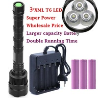 Super Bright 3 * XM L T6 Powerful 3T6 LED Flashlight 5 Mode Torch Light Lamp With 3*18650 Rechargeable battery and charger