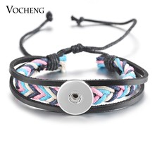 2 Colors Vocheng Ginger Snap Button Jewelry Braid Genuine Leather Bracelet for 18mm NN-512(China)