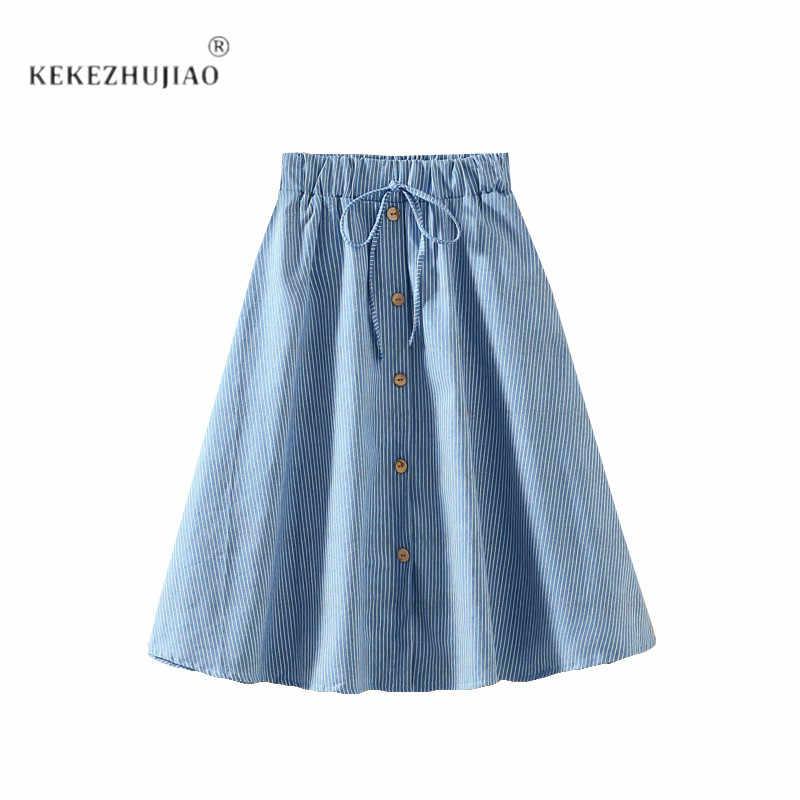 660ddaff785 New Arrivals Striped Denim Skirt Women 2018 High Waist Saia Midi Girls Jean  Skirts Button Lace