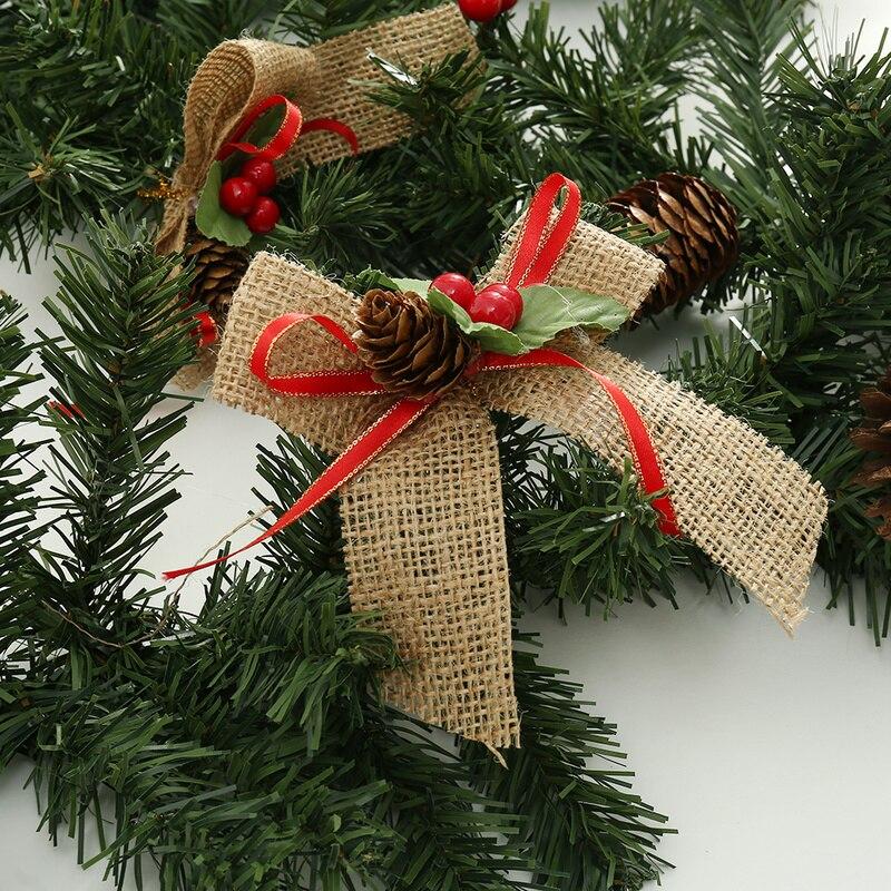 Us 20 99 Christmas Garland Christmas Rattan With Bows Bar Tops Ribbon Christmas Tree Ornaments Cane Tinsel Party Supplies Christmas Decor In Pendant