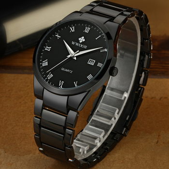 WWOOR Top Brand Luxury Men Stainless Steel Waterproof Sports Watches Men's Quartz Analog Date Clock Male Black Strap Wrist Watch