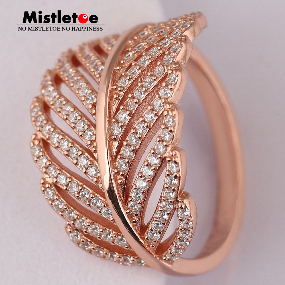 Authentic 925 sterling Silver Light As A Feather Ring, Mistletoe Rose & Clear CZ Compatible With European Jewelry roxy light as a feather