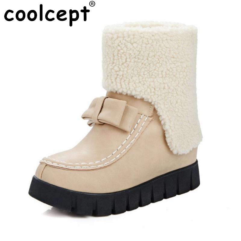 Russia Women Round Toe Muffin Ankle Snow Boots New Design Bowtie Bowknot Shoes Woman Warm Fur Winter Botas Feminina Size 33-43