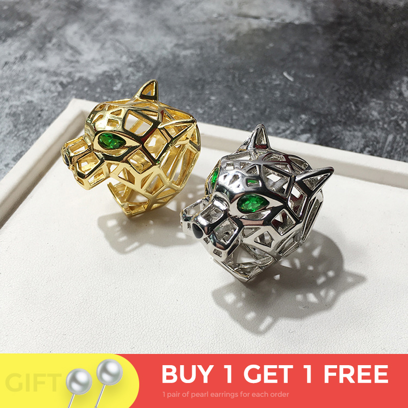 Top Quality Hollow Green Eye Leopard Ring Gold Color Micro Mosaic Crystal Stone Bohemia Bossy Ring For Men Women Luxury Jewelry-in Rings from Jewelry & Accessories