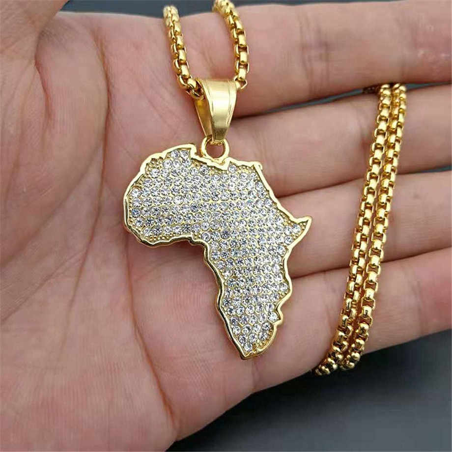 Hip Hop Iced Out Africa Map Pendant Necklace Gold Color Stainless Steel Rhinestones Necklace African Jewelry Wholesale
