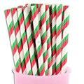 100 шт Разноцветные зеленые красные бумажные трубочки в полоску, дешевые рождественские праздничные украшения бумажные соломинки для продажи - фото