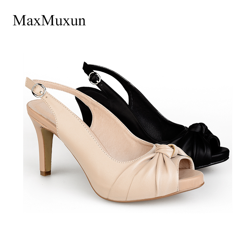4d145312038 MaxMuxun Womens Peep Toe Slingback Thin Kitten Heels Pumps Sexy Office  Ladies OL Ankle Strap Stiletto Wedding Dance Party Shoes-in Women s Pumps  from Shoes ...