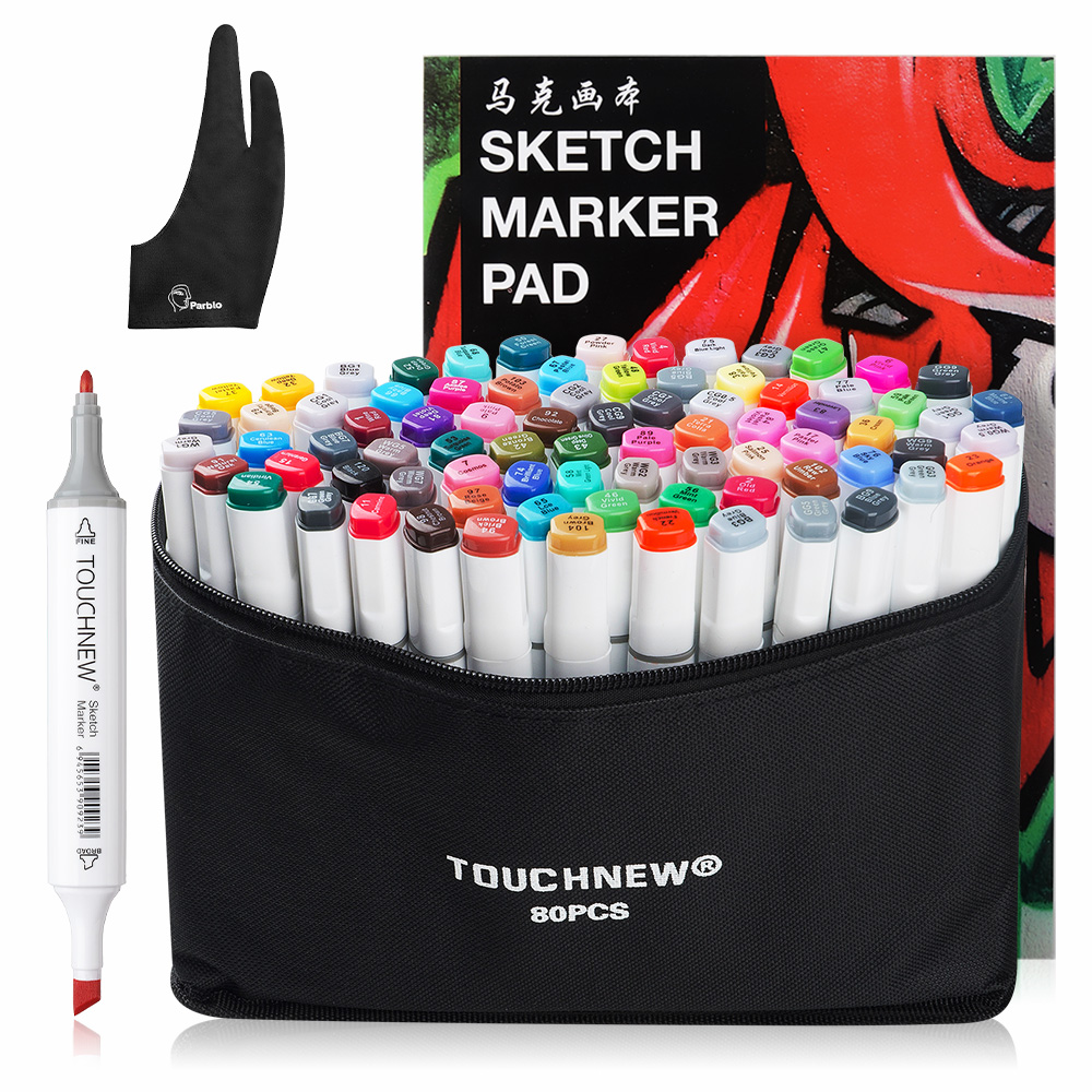 TOUCHNEW Sketch Marker Pen 80 Colors Set Dual Head Alcohol Markers Common Design+ A4 Sketch Book +Two finger Glove|Art Markers| |  - title=