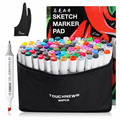 TOUCHNEW Sketch Marker Pen 80 Colors Set Dual Head Alcohol Markers Common Design+ A4 Sketch Book +Two finger Glove|Art Markers| |  -
