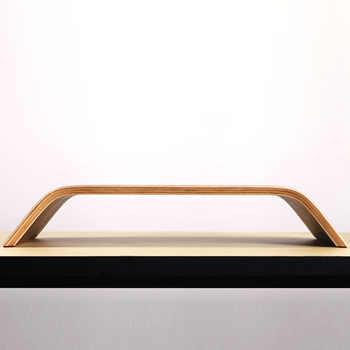 SAMDI Bamboo Desktop Monitor Heighten Stand Computer Dock Holder Laptop Rack Display Bracket for iMac Notebook