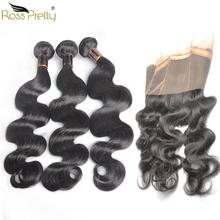 Ross Pretty Remy Brazilian Body Wave Hair 360 Lace Frontal with Bundles Natural Human Hair Weave bundles with frontal