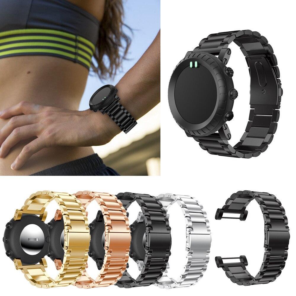Banda de reloj de acero inoxidable Correa pulsera de la pulsera ajustable reemplazo para Suunto Core 175 cm bfof