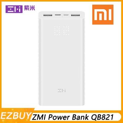 Batterie externe de xiaomi ZMI QB821 20000 mAh batterie externe double USB portable puissance de charge affichage numérique QC3.0 20000 mAh Powerbank