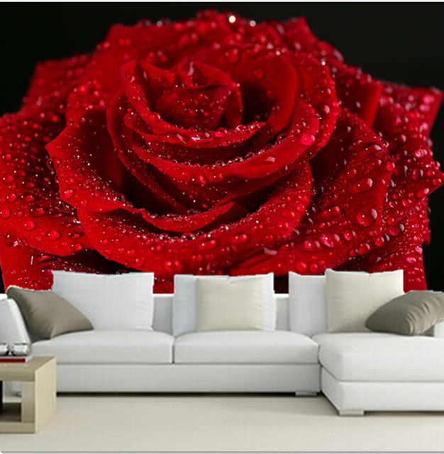 Personnalise 3d Peintures Murales Belle Romantique Rouge Roses