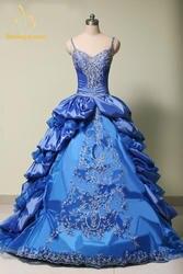 Новый 2018 Синий Пышное Платье бальные платья с v-образным вырезом вышивка сладкий 15 платья Vestidos De 15 вечерние платья QA722