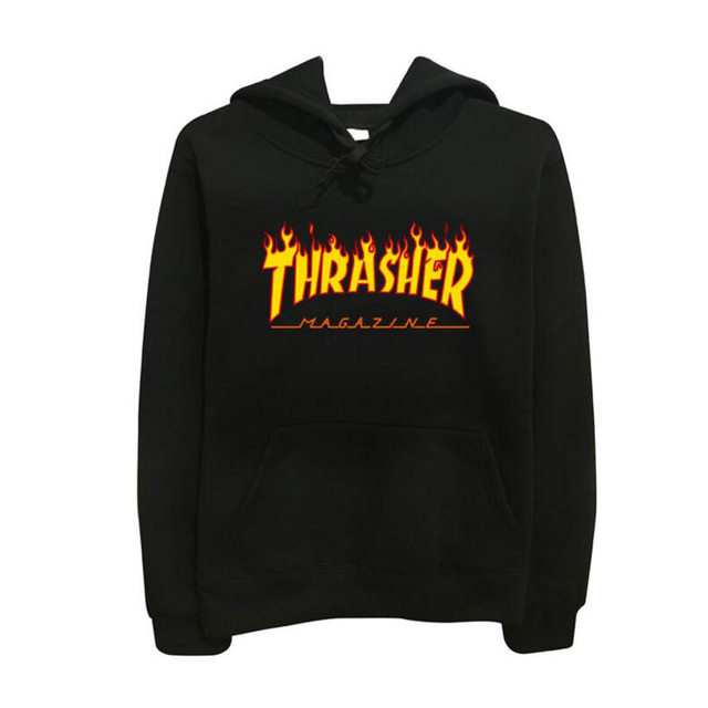 Thrasher Hoodies Men Hip Hop Flame Blaze trasher Sportswear hoody Sweatshirt Solid Skateboard Pullover Hoodie Man brand Clothing