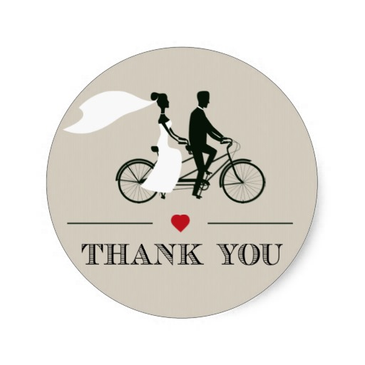online shop 3 8cm tandem bicycle wedding thank you stickers