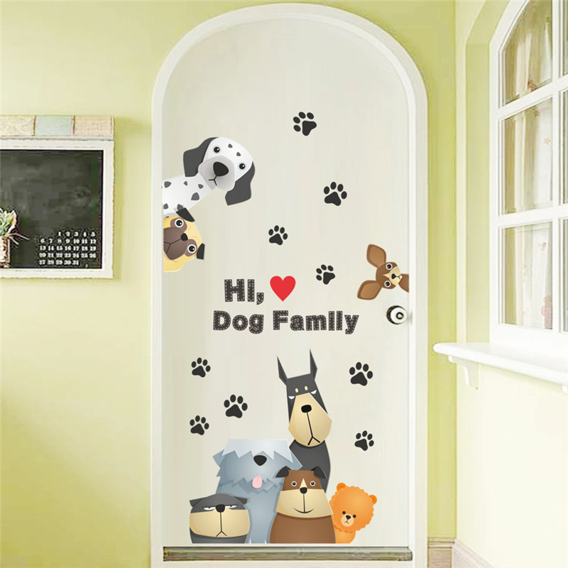Lovely Dogs Wall Stickers Kids Room Decoration Diy Cartoon Puppy Animals 3d Decorative Mural Art PVC Home Decals Children's Gift