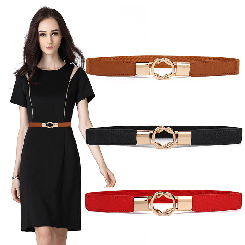 HOT Gold Ring Alloy Buckle Cummerbunds Thin Elastic Belt Women Party Waistband For Dress Shorts Jeans Skirt Simple Cummerbund