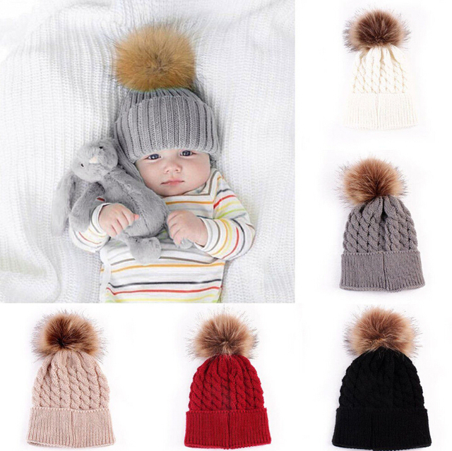 c87438dce190a4 Baby Toddler Kids Boys Girls Knitted Caps Cute Hats Crochet Winter Warm Hat  Cap 5 Colors