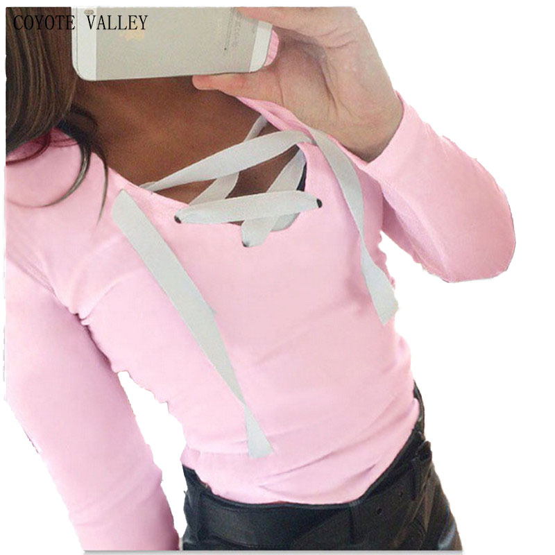 COYOTE VALLEY The new winter 2017 high quality cross strap T-shirt coat top female hot style BTS harajuku king queen xinguangya
