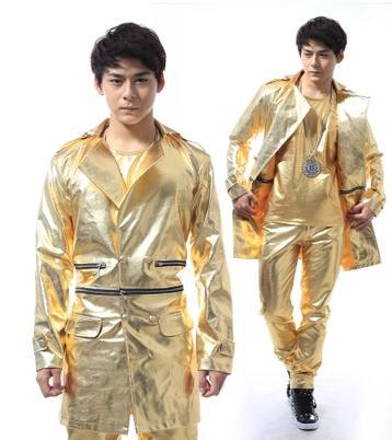 Dance gold zipper mens leather jackets and coats leather jacket men jaqueta couro jaqueta de couro masculina 2XL Customizable