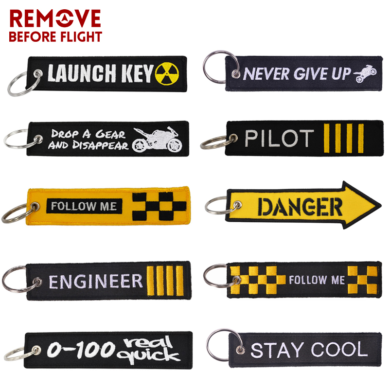 REMOVE BEFORE FLIGHT Novelty Keychain Launch Key Chain Bijoux Keychains For Motorcycles And Cars Key Tag New Embroidery Key Fobs