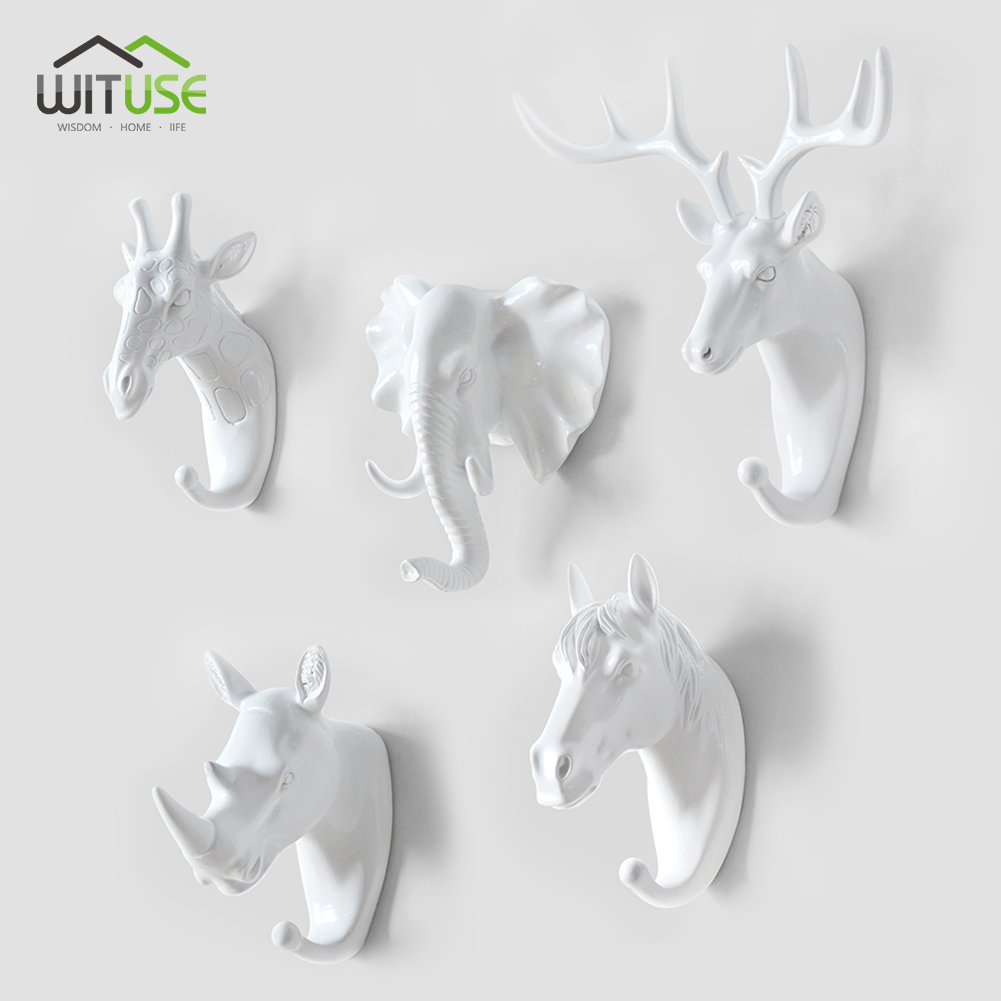 WITUSE Deer Elephant Horse Head Giraffe Animal Clothing Display Racks Hook Coat Hanger Cap Room Decor Show Wall Bag Keys Holder
