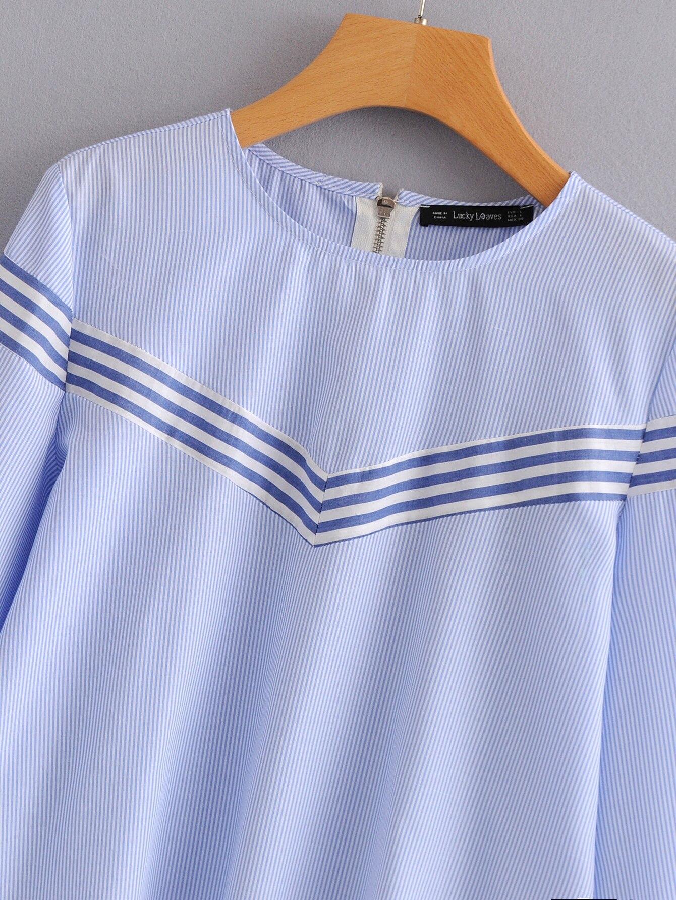 O Chauve Femmes Manches cou Nouvelles Bleu Tops souris Floral Shirt Blouse Voguein Gros Lâche Broderie 5Eq0W
