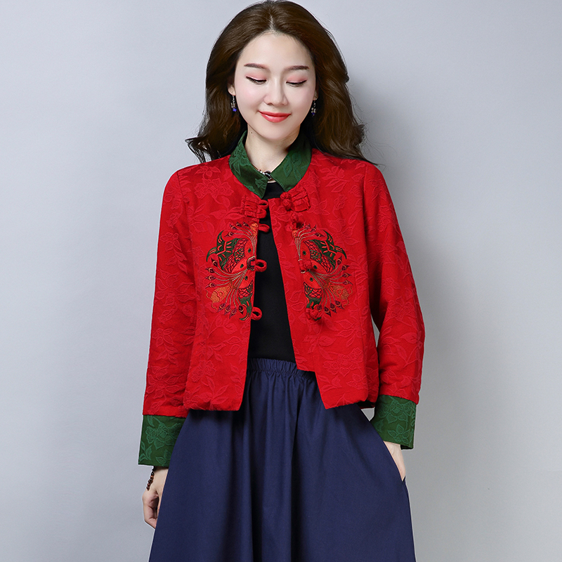Autumn Women's Winter Short Coat Vintage Patchwork Embroidery Buckle Cotton Linen Tang Suit Tops Chinese Traditional Jacket