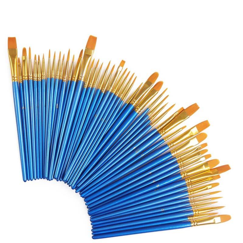 50Pcs Detail Paint Brush Set Professional Synthetic Short Has