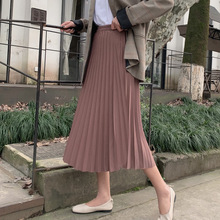 5 Colors 2019 New Autumn Winter High Waist Vintage Solid Color Pleated Skirts Fe