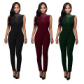 Womens Sexy Black Sleeveless Turtleneck Rhinestone Bodycon Jumpsuit Ladies Clubwear Long Pants Body Suits