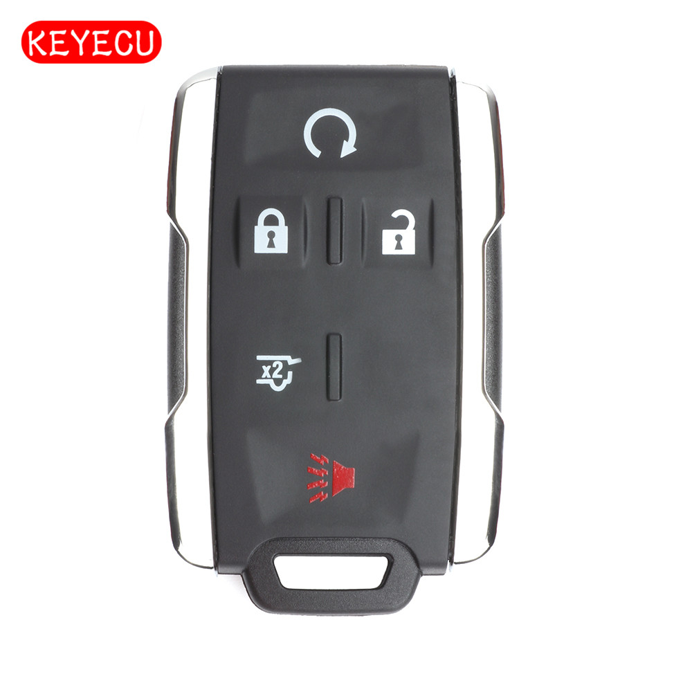 Keyecu Replacement 5 Button Remote Car Key Shell Case Fob for Cadillac Escalade 2015 2016 (Chrome Edge)