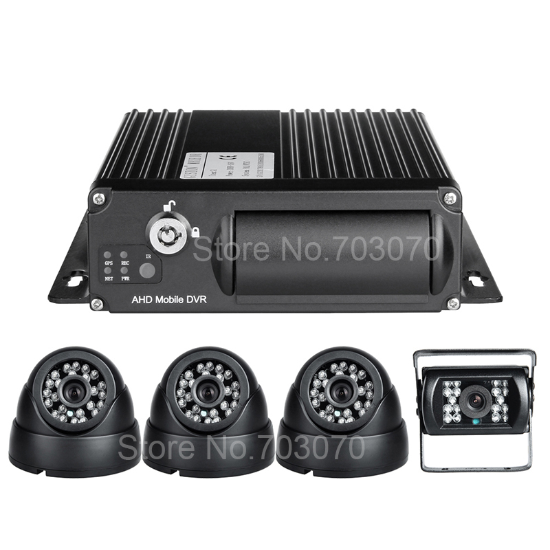 New ahd 1080p car mobile dvr kits,<font><b>4channel</b></font> viedo/audio input sd card <font><b>mdvr</b></font> car video recorder with 4pcs night vision camera image