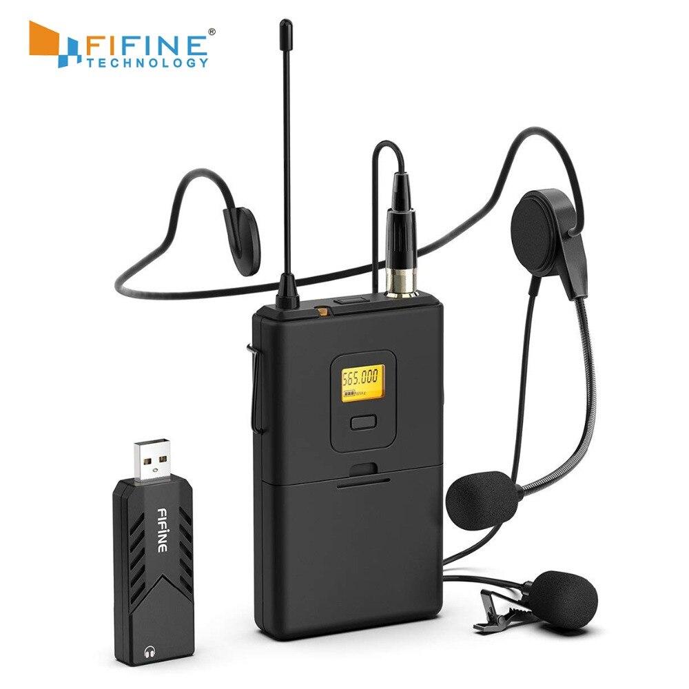 Fifine Sans Fil Cravate Microphone pour PC et Mac, Microphone À Condensateur avec USB Récepteur pour Entrevue, Enregistrement et Podcast