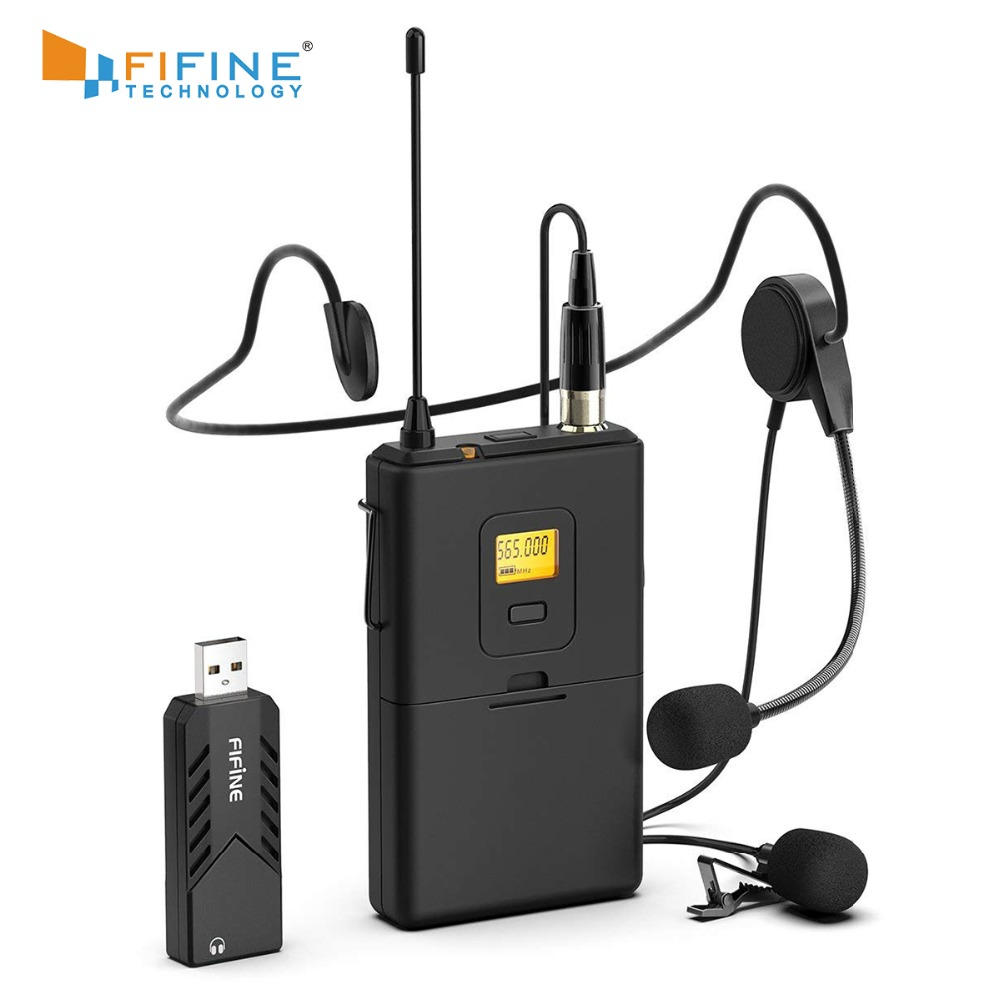 Fifine Wireless Lavalier Microphone for PC  amp  Mac Condenser Microphone with USB Receiver for Interview Recording  amp  Podcast