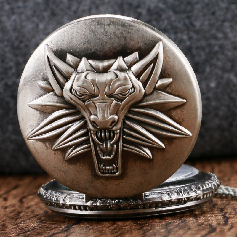 Cool Roaring Lion The Witcher Pocket Watch Vintage Antique Fob Watch Classic Design Men Necklace Chain montre gousset old antique bronze doctor who theme quartz pendant pocket watch with chain necklace free shipping