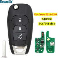 Nuevo estilo modificado 3 botones 433MHZ con ID46 PCF7941 chip remoto llavero con mando a distancia para Chevrolet Cruze Aveo 2014-2018