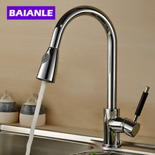 Kitchen Faucet Deluxe Pull out Spray Mixer Tap,Pullout Sprayer Kitchen Sink Faucet Nickel Brushed Brass material