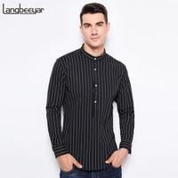 Top Grade New Fashion Brand Clothing Men S Stripe Shirts Mandarin Collar Slim Fit Shirt Cotton