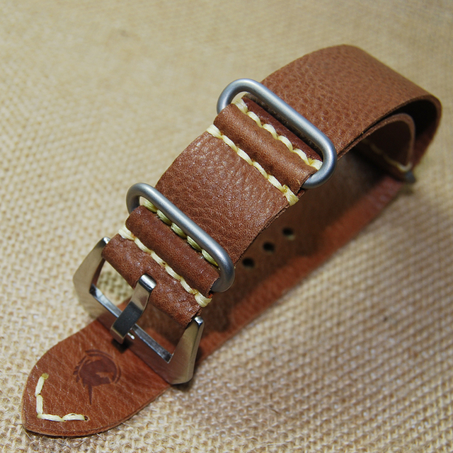 Top quality 24MM Nato strap genuine cow leather Watch band