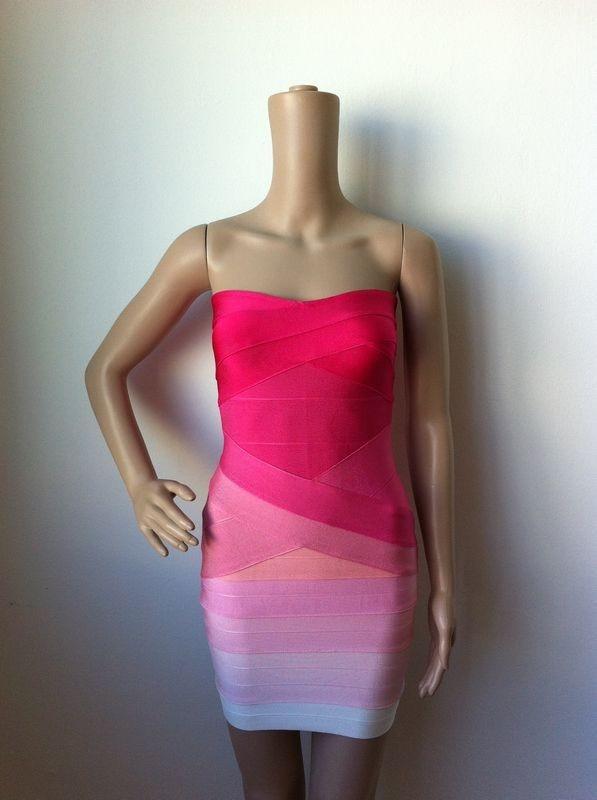 Ким Кардашьян, без бретелек, с открытыми плечами,, сексуальное женское платье, вискоза, бодикон, опт, дешевые мини обнаженные платья - Цвет: Pink Gradient